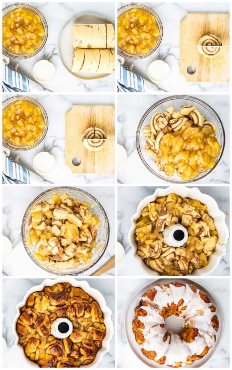 step by step photos for how to make apple pie monkey bread