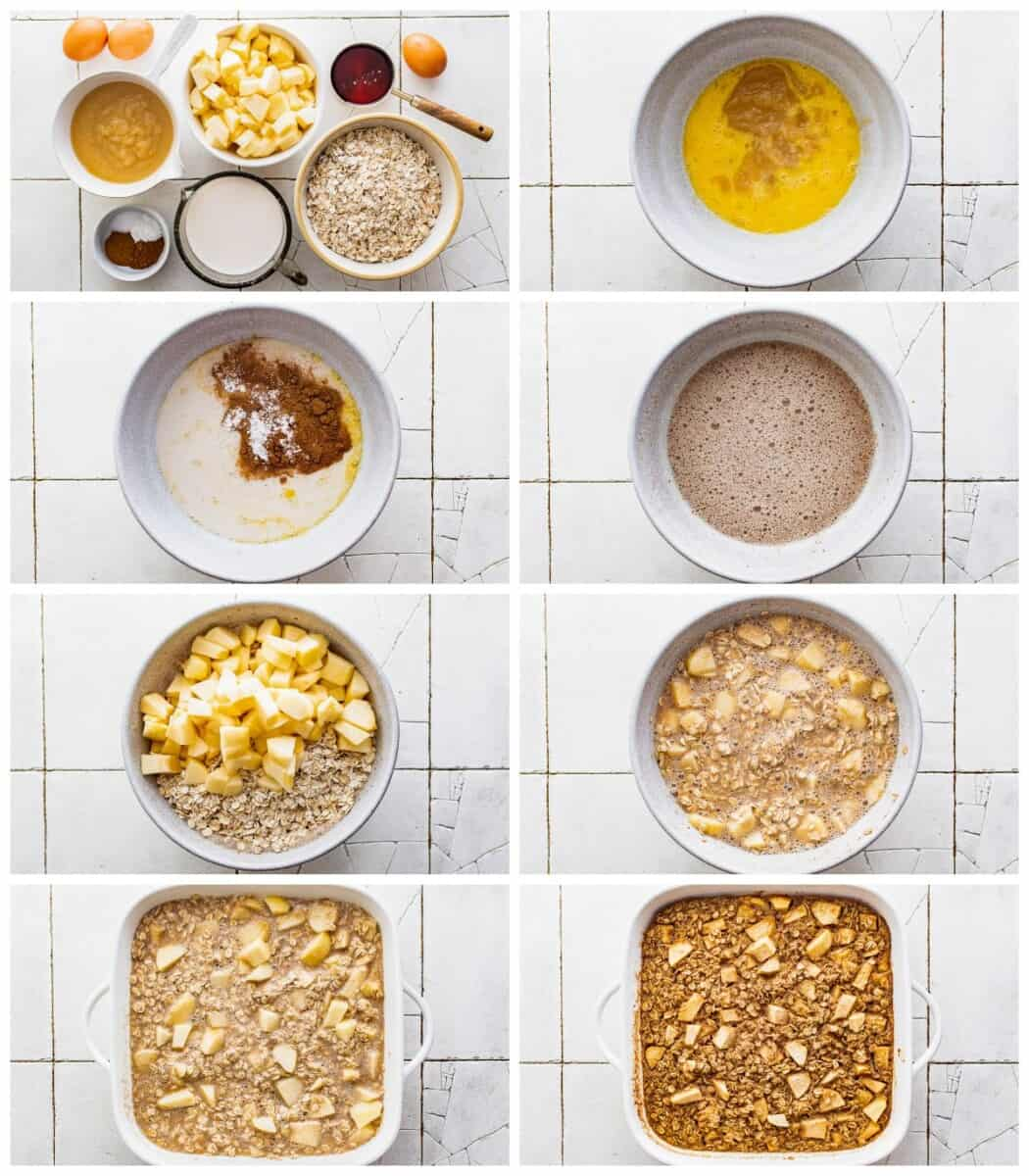 step by step photos for how to make baked apple oatmeal