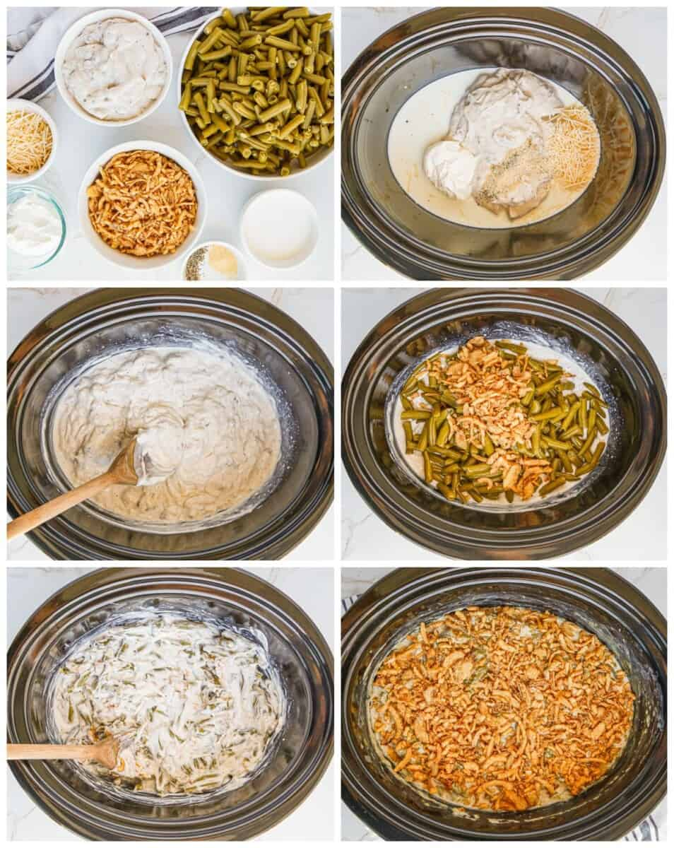 step by step photos for how to make crockpot green bean casserole