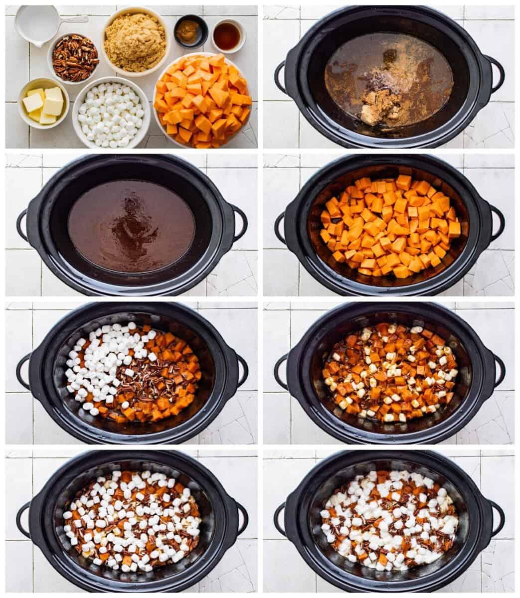 step by step photos for how to make crockpot sweet potato casserole