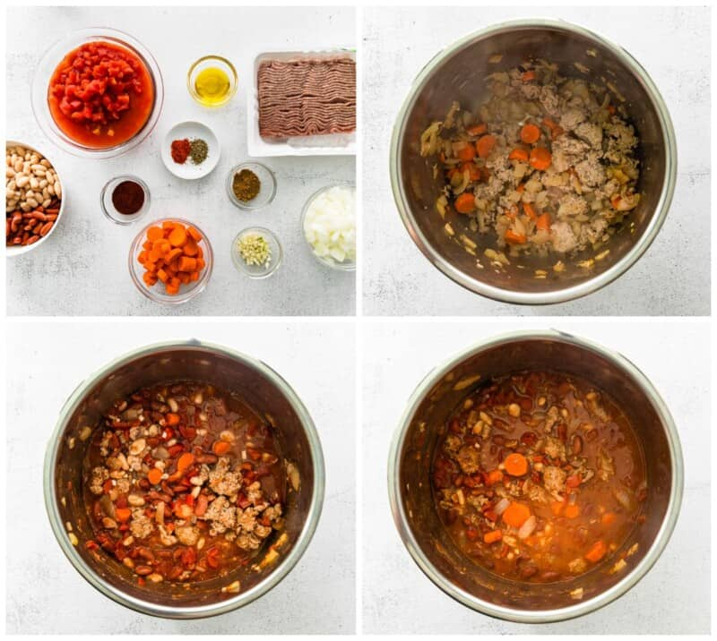 step by step photos for how to make instant pot turkey chili