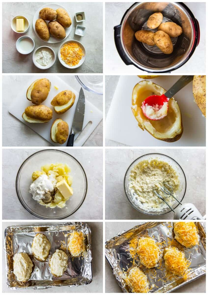 step by step photos for how to make instant pot twice baked potatoes