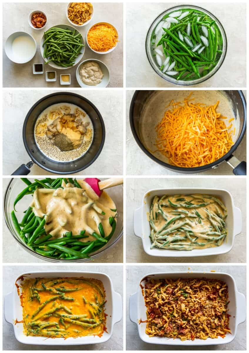 step by step photos for how to make loaded green bean casserole