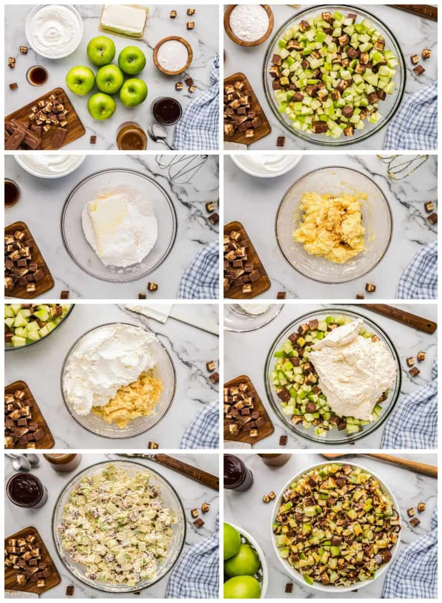 step by step photos for how to make snickers apple salad