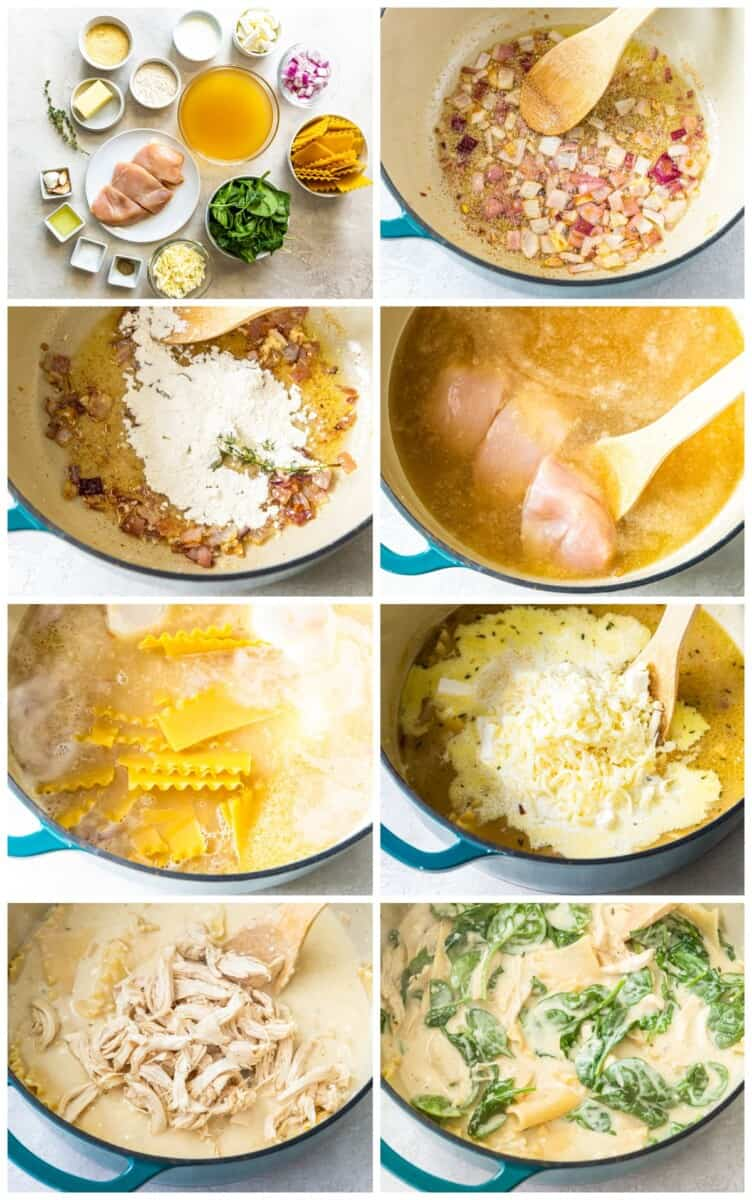 step by step photos for how to make white chicken lasagna soup