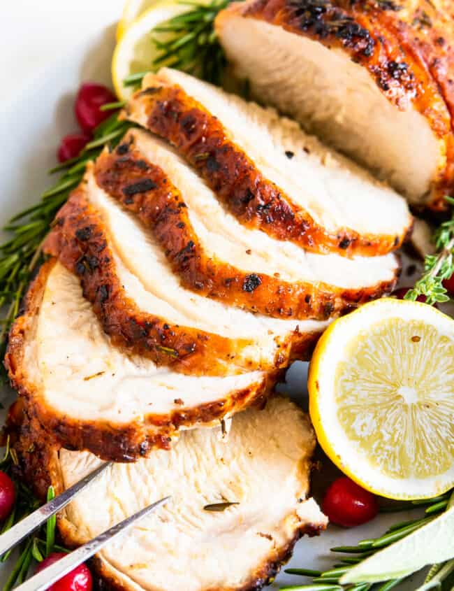 up close slices of air fryer turkey breast