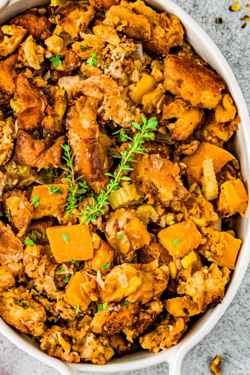 up close overhead baking dish with butternut squash stuffing