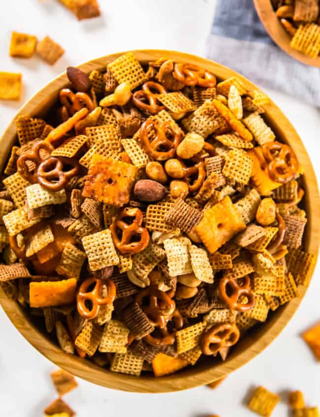 chex mix in a wood bowl