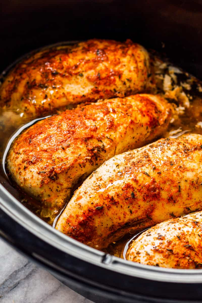 seasoned chicken breasts cooked in a crockpot