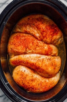 chicken breasts in a slow cooker