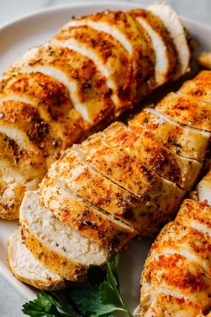 sliced crockpot chicken breasts with spice rub