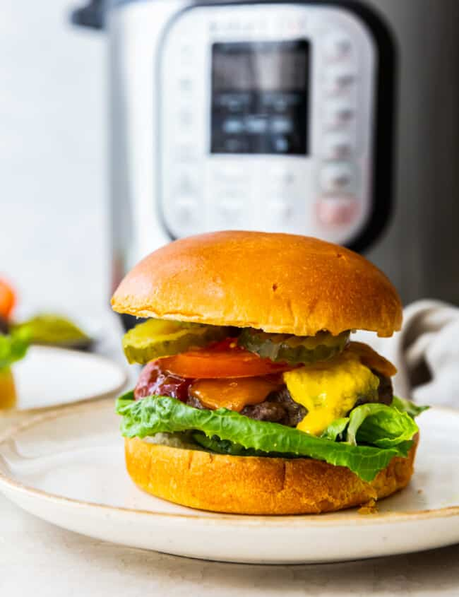 cheeseburger with a bun on a white plate in front of an instant pot