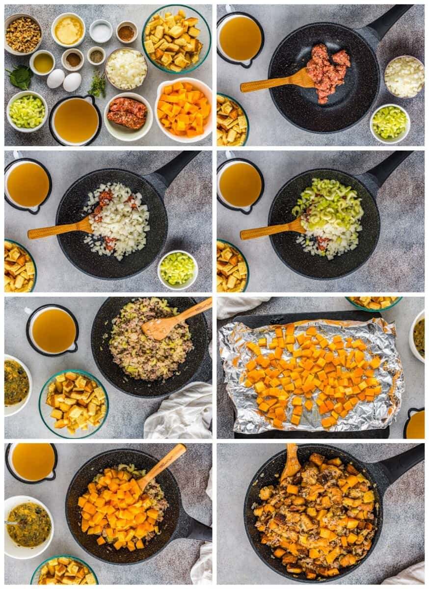 step by step photos for how to make butternut squash stuffing